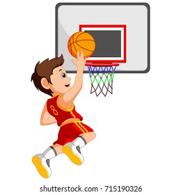 Vector illustration of basketball player in action