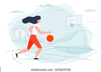 Vector illustration - basketball player. Girl with ball on playground with hills and forest on background. Banner, poster template with place for your text.