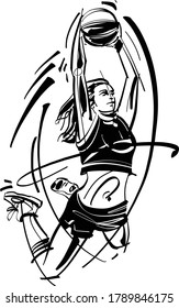 Vector illustration of the basketball player woman