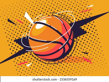 vector illustration of a basketball in pop art style