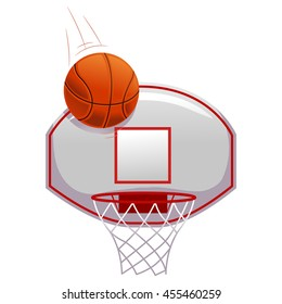 Vector Illustration of Basketball shot on Ring