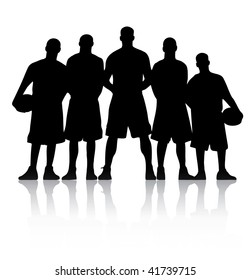 Vector illustration of a basketball team