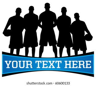 Vector illustration of a basketball team silhouette with copy space for text below