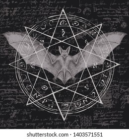 Vector illustration with a bat with open wings and star. Witchcraft magic, occult attributes, alchemy symbols. Night creature with fangs. Flying vampire on the background of old manuscript