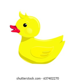 Vector illustration of bath yellow duck isolated on white background
