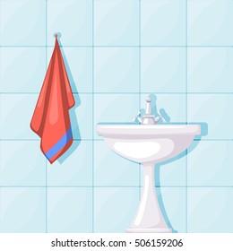 Vector illustration of bathroom ceramic wash basin, tiled walls and red towel. Cartoon style. Furnishings bathroom