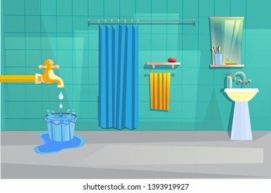 vector illustration of bathroom interior with water over flowing theme