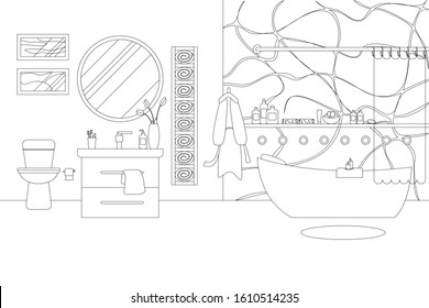 Vector Illustration of Bathroom in Line Art Style. Room Interior with Modern Furniture, Hygienic Accessories and Decor. Monochrome Outline Illustration of Bathroom with Bath, Mirror, Toilet and Window