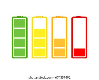 Vector illustration battery indicator icon set.