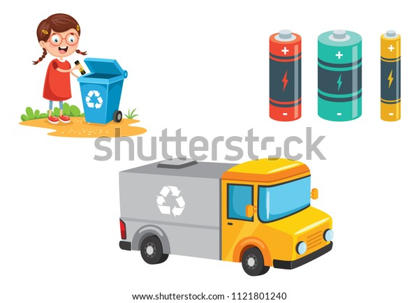 Vector Illustration Of Battery Recycling