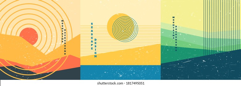 Vector illustration. Bauhaus. Mid century modern graphic. 70s retro funky graphic. Grunge texture. Minimalist landscape set. Abstract shapes. Design elements for social media, blog post, banner, card