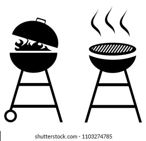 vector illustration of BBQ Grill icons isolated on white background