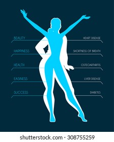 Vector illustration of Be fit, woman silhouette images