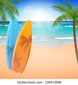 Vector Illustration of a Beach Background with Surfboards