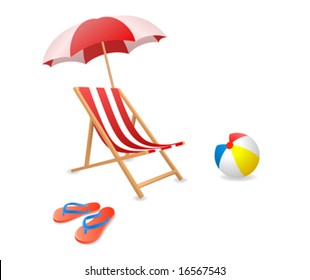 Vector illustration of a beach chair with umbrella.