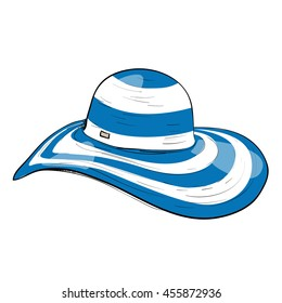 Vector illustration beach hat with large fields