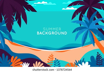 Vector illustration - beach landscape - plants, leaves, palm trees and ocean - background with copy space for text for banner, greeting card, poster and advertising - summer vacation concept