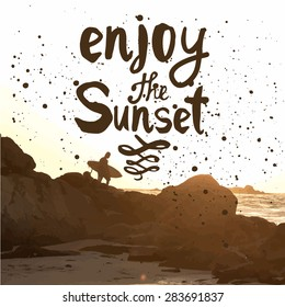Vector illustration of a beach landscape. Summer sunset by the sea. Surfer with board on coastal rocks. Enjoy the sunset.