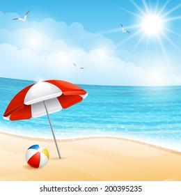 Vector illustration - beach summer scene