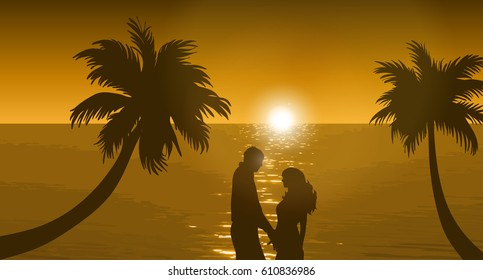Vector illustration of beach with sunset and loving couple