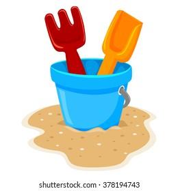 Vector Illustration of Beach Toys