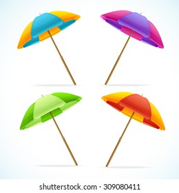 Vector illustration Beach Umbrella Set. The symbol of summer vacation