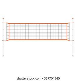 Vector illustration  beach volleyball net. Orange indoor volleyball net.