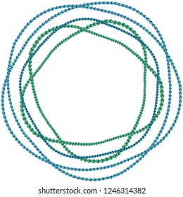 Vector illustration of beads, bead chain, round frame of necklace or bracelet