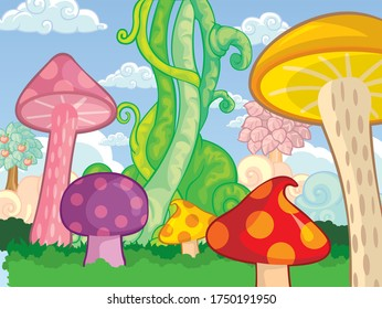 Vector illustration of a bean stalk on the fairy tale Jack and the Beanstalk. The concept of growth