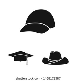 Vector illustration of beanie and beret sign. Set of beanie and napper vector icon for stock.