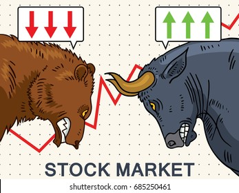 Vector illustration of a bear and a bull. Stock market symbols.