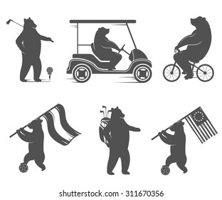 Vector Illustration Bear football, golf and cycling on a white background. Bear Symbol Can be used for T-shirts print, labels, badges, stickers, logos
