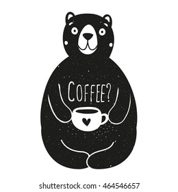 Vector illustration with bear holding cup and word Coffee. Vintage typography poster with animal, black and white print design