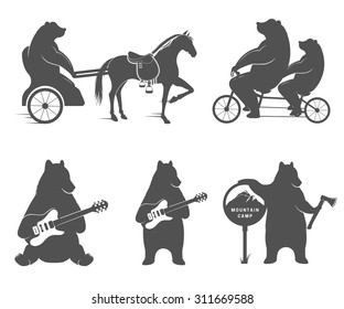 Vector Illustration Bear on a tandem bike, guitar and camp on a white background. Bear Symbol for T-shirts print, labels, badges, stickers and logos