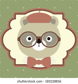 vector illustration of bear portrait in hat, bow tie, glasses, retro style, hipster look