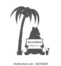 Vector Illustration Bear with sign Welcome to California on a white background. Bear Symbol Can be used for T-shirts print, labels, badges, stickers and logotypes