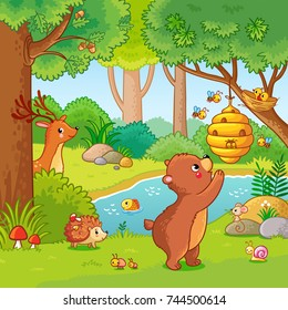 Vector illustration with a bear who wants honey. Animals in the forest. Picture in the children's cartoon style.