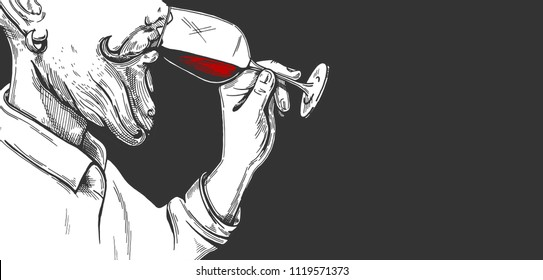 Vector illustration of a bearded man sommelier trying wine. Alcohol drinking process in a hand drawn engraving style.