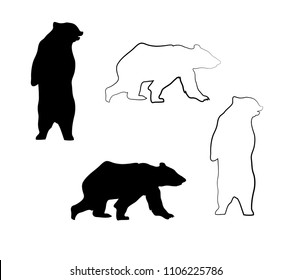 vector illustration of bears. outline and black animal silhouettes