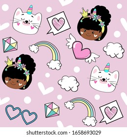 Vector illustration with a beautiful African American girl in a crown and with a cat unicorn on a background of clouds and a rainbow on a pink background seamless pattern for girl
