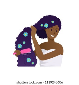 Vector illustration of beautiful african woman in towel brushing her hair with comb. Curly brunette hair treatment with blue flowers on white isolated background.