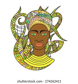 Vector illustration of beautiful African woman. Pretty dark-skinned girl in traditional turban with ethnic ornament.Isolated background based on zentangle art.