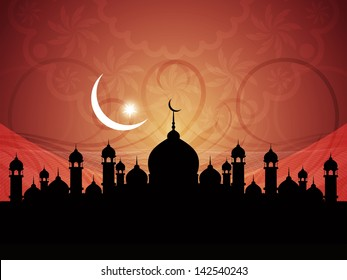 vector illustration of  beautiful artistic background with mosque for ramadan and eid.
