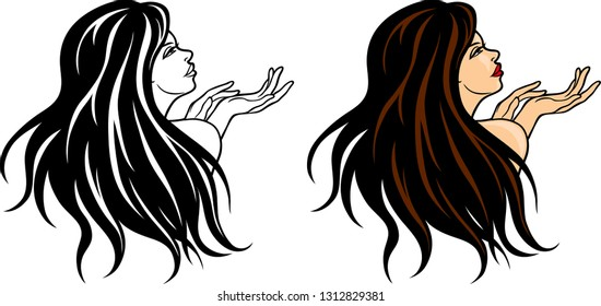 Vector illustration of a beautiful attractive woman with long hair gesturing hands logotype.
