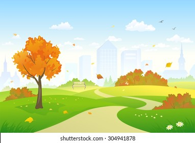 Vector illustration of a beautiful autumn city park alley