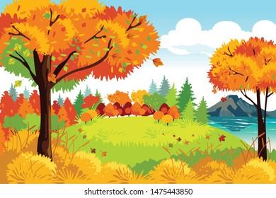 A vector illustration of Beautiful Autumn or Fall Season Nature Landscape Background