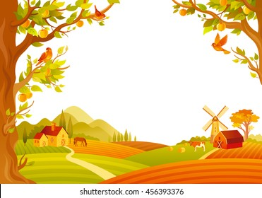 Vector illustration of beautiful autumn landscape on white background in modern elegant style with copy space. Countryside fall farm symbols - barn, mill, apple trees, farm animals.