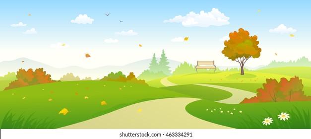 Vector illustration of a beautiful autumn landscape