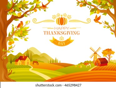 Vector illustration of beautiful autumn landscape on white background in modern style with elegant text lettering, copy space. Countryside fall farm thanksgiving symbols - mill, barn, apple tree