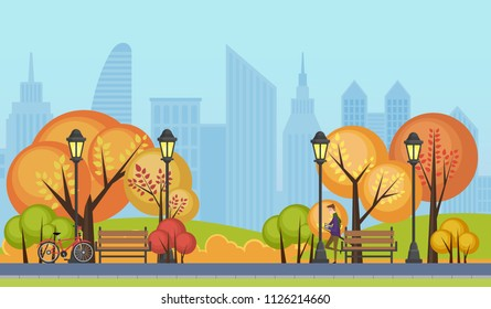 Vector illustration of a beautiful autumn public city park with city skyscrapers buildings on background.